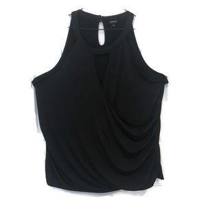 Torrid black v-neck rouched sleeveless top; 4X